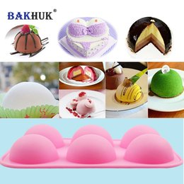 pudding silicone mold NZ - 1pc Silicone Half-Sphere Cake Mold Soap Mold Jelly Pudding Chocolate Mold, DIY 6 Cavities Hemisphere Dome Pink Mold