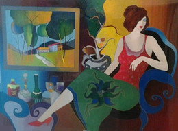 $enCountryForm.capitalKeyWord NZ - Itzchak Tarkay Living Room View,Handpainted  HD Print Lady Cafe Portraits Wall Art Oil Painting On Canvas.Multi Custom Sizes  Frame It108