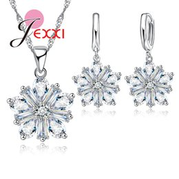 beautiful pendant sets Australia - JEXXI Fashion Women Children Christmas Gift Beautiful Snowflake Design Silver Chain Necklace Earring Set Casual Jewelry Pendant