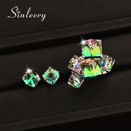 $enCountryForm.capitalKeyWord Australia - SINLEERY Fashion Shiny Multicolor Square Crystal Rings Earrings Wedding Jewelry Set For Women TZ162 SSD