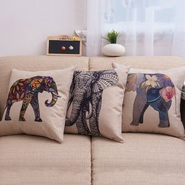 elephant textiles NZ - Elephant animal Cotton Linen Color Decorative Pillow Case Chair Square Waist and Seat 45x45cm Pillow Cover Home Textile fronha