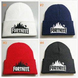 Wholesale Fortnite Battle Royale Cotton Teenager Hat Knitted Hat Cap Hip Hop embroidery Sleeve Cap Costume Accessory Gift colors Cosmetic Bags