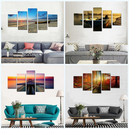 Canvas prints frame online shopping - Modern Large Scenery Spray Paintings Combination Home Decor Living Room Canvas Forest Painting Wall Art Hanging Picture No Frame md2 jj