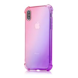 Iphone 6s Plus Case Clear Design Australia - Gradient Colors Anti Shock Airbag Soft Clear Cases for IPhone XR XS MAX 8 7Plus 6S 7 Plus I Phone 8plus 7 Plus Cradle Design