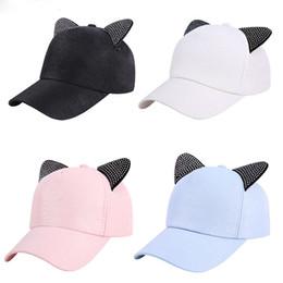 cba9267152 Girls Cat Baseball Cap Australia - New Women'S Summer Fall Black White Pink Hat  Cat Ears