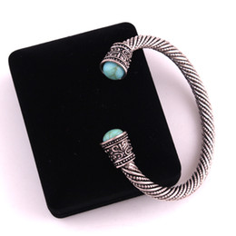 Vikings bracelet online shopping - VB300027 Antique Silver Viking Norse Mystical Turquoise beads at each end Open Cuff Bracelet