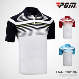 Quick Dry Shirts For Men Australia - PGM Golf T-shirt For Men Breathable Brand Man's Sports T-shirt Quick Dry Stripe Golf Trainning Wear Clothing Man's Polo