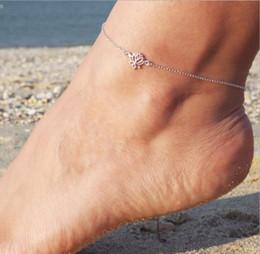 0e6a69ac03b4 Nueva pulsera de la cadena del pie Yoga joyería flor Lotus tobilleras para mujer  pulsera del pie oro plata rosa oro Color regalo de la joyería del pie