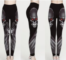 Discount girls wearing yoga pants - Women Leggings Skull Eyes 3D Graphic Print Girl Skinny Stretchy Yoga Wear Pants Lady Runner Casual Soft Capris Trousers