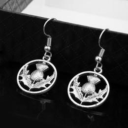 Vente en gros Outlander Bijoux Écosse Thistle Celtic Scottish Flower Boucles d'oreilles pour femme fille boucles d'oreilles Dangle cadeau