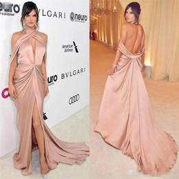 New Stylish Dress Pictures NZ - New Stylish Halter Neck Sexy Evening Dresses Backless High Split Formal Prom Gowns Zuhair Murad Special Occasion Dress