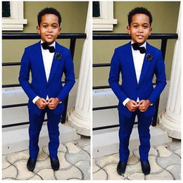 grooms purple royal blue tuxedos NZ - Royal Blue Kid's Formal Wedding Groom Tuxedos Flower Boys Children Party Suits Two Pieces(Jacket + Pants + Bowtie)