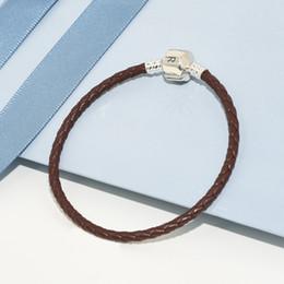 1459dcedf559 Diseño clásico de moda de lujo Marrón Pulseras de cuerda de los hombres de  cuero reales Caja original para Pandora 925 Pulsera de plata esterlina