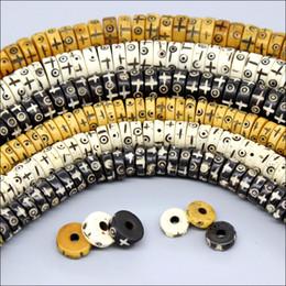 Venta al por mayor de Granos hechos a mano del hueso OX tallado a mano 3x8mm 4x10mm Granos Heishi redondos antiguos para hacer joyas Granos sueltos del espaciador DIY
