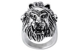 animal rings lions UK - European and American wholesale jewelry wholesale fashion trend titanium steel jewelry accessories alternative lion head animal ring explosi