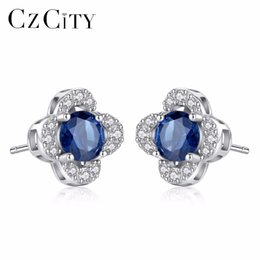 b90a06ea0 Vintage sapphire earrings online shopping - CZCITY Fashion Stud Earring  Inlay Created Round Royal Sapphire Blue