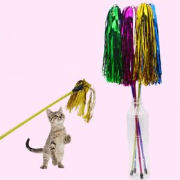 interactive bell UK - Pet cat wand toys Rainbow Stripe with bells cat interactive training Feather Tease stick toys For kitten Cats jouets pour chats
