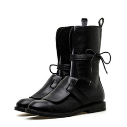 5a39d5cc9e0 Boussac con cordones Cross-tie Martin Boots punta redonda invierno zapatos  de mujer mediados de la pantorrilla plana motocicleta botas zapatos mujeres  ...