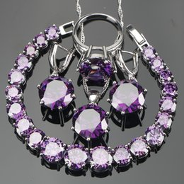 PurPle stone necklace set online shopping - whole saleWedding Purple Zircon Silver Jewelry Sets Bracelets Earrings With Stones Pendant Necklace Rings Set Jewellery Gift Box