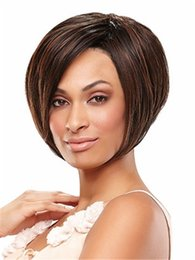 China dark brown bob short hair wig Heat resistant fiber synthetic wig capless fashion wig for women suppliers