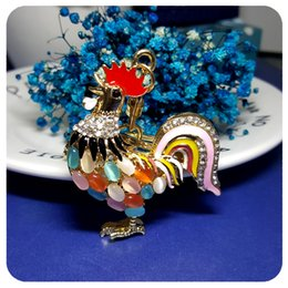 Opal Stones Cock / Gallo Style Key ChainKeyring Accessorio regalo per Fashion Handbag Buckle Pendant Ornament Decoration