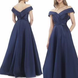 $enCountryForm.capitalKeyWord UK - Off Shoulder Dark Blue A Line Evening Prom Dresses 2018 Sexy Low Neckline Ruffles Sweep Train Pleated Plus Size Corset Formal Evening Gowns