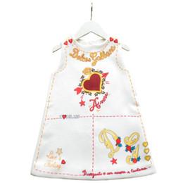 Vente en gros Vêtements de fille de logo de concepteur élégant imprimé floral robe jupe sans manches enfants robes mignonnes luxe coeur Logo vêtements de fille de bébé