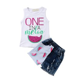 9ac44099e New Summer Children Girls Clothes Toddler Kids Baby Girl Watermelon  Sleeveless Vest Tops+ Ripped Jeans Denim Shorts 2PCS Outfits