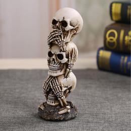 $enCountryForm.capitalKeyWord NZ - MOQ:1PCS Halloween Decoration Horror Props Skull Model Resin Indian Skeleton Event Supplies Wine Bar Dec 6*6*19cm For Party Ornament