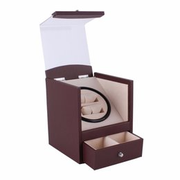 Discount cuboid boxes - Auto Rotation Watch Winder Brown Transparent Cover Winder Luxury 2 Grids Casket Cuboid Shape US Plug Wristwatch Box With