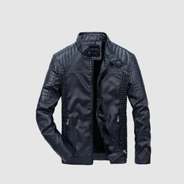 blue bikers jacket UK - New Men Leather Jacket Winter Fashion High Quality PU Casual Biker Jacket Male Outerwear & Coats XL 2XL 3XL