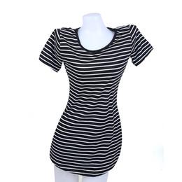 Wholesale tuxedo t shirts for sale – custom Striped sea soul beach skirt tuxedo T shirt dress Casual Dresses