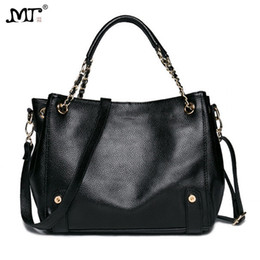 black cowhide leather tote bag 2019 - MJ Women Genuine Leather Shoulder Bag Female Chain Handbag Real Cow Leather Tote Bag 2018 New Large Cowhide Messenger Ba