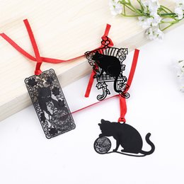 6b3842764d Vintage Black Metal Bookmark Kawai Feather Leaf Paper Clips Cute Cat Book  Markers For Books Korean Stationery School Supplies