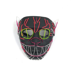 $enCountryForm.capitalKeyWord UK - 2018 New EL Wire Mask Flashing Cosplay LED Cat Mask Costume Anonymous Mask Glowing Dance Carnival Party Halloween Decoration