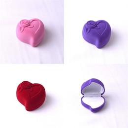 Free ear rings online shopping - Jewelry Box Heart Shaped Ornaments Packing High Grade Flocking Ring Ear Nail Earrings Wedding Storage msa V