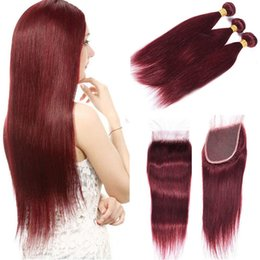 red straight hair extension 2019 - New Arrive Wine Red 99J Straight Hair 3 Bundles with Lace Closure Burgundy Peruvian Human Hair Weaves Extensions with La