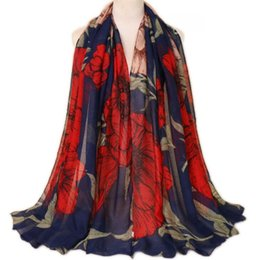 Chinese pashmina sCarves online shopping - Printed breathable Bali yarn scarf Chinese style rich and large flower factory direct supply long scarf Scarves