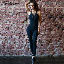 6b095172a47b Hirsionsan Fitness Jumpsuit Women 2018 Black Sexy Cross Bandage Skinny  Elasticity Playsuits Backless Rompers Workout Overalls