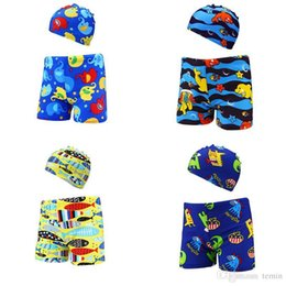 4f394f4065f17 XXL Baby boys swim trunks with cap animal printed Swimwear Toddler children's  Swimsuits summer beach board shorts bathing suit
