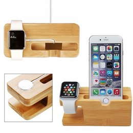 Wholesale Cell Phone Charger Dock with Watch Bamboo Holder Desk Wood Charging Stand For Apple Watch mm All iPhone Plus mobile