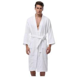 Kimono de los hombres albornoz batas de algodón turco más el tamaño ligero túnica larga para hombres absorción después de la ducha albornoz ropa de dormir en venta