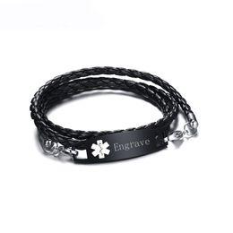 24f75fcaed33 Meaeguet Black Pu Leather Medical Alert ID Bracelet Free Laser Brazalete de  pulsera de acero inoxidable personalizado del encanto