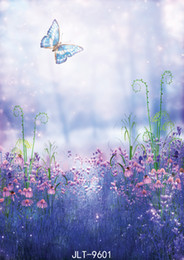 Background Prints Australia - Butterfly Lavender Photo Backdrops for Photo Studio Computer Printed Backgrounds Wedding Children Baby Newborn photo shoot