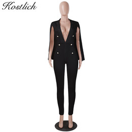 69a125880ab6 Kostlich Deep V-neck Sexy Women Jumpsuit Cape Shawl Sleeve Buttons Rompers  Womens Jumpsuit Ladies Office Bodysuit Overalls 2018