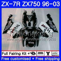 KawasaKi ninja 7r online shopping - Black west Body For KAWASAKI NINJA ZX R ZX750 ZX7R HM white ZX ZX R ZX ZX R Fairing