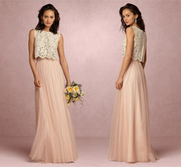 $enCountryForm.capitalKeyWord Australia - Country Style Blush Pink Two Pieces Lace Bridesmaid Dresses Soft Tulle Sheer Maid Of Honor Full Length Long Evening Prom Gowns HY278
