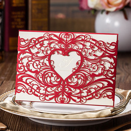 Wedding invitations papers online shopping - Hollow Originality Invitations Paper Heart Shaped Card Wedding Party Supplies Hand Made Creative Exquisite Greeting Cards hs jj