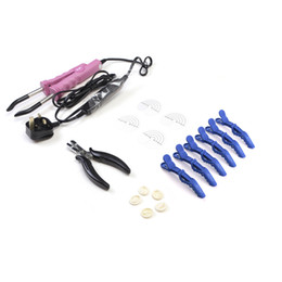 Wholesale Neitsi Hair Extensions Connector Pink Black UK plug & Hair Iron Tools(Pier, Brush, U Tips, Heat Protector Shield, Hair Clips)
