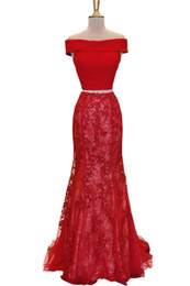 $enCountryForm.capitalKeyWord UK - Red Mermaid Evening Long Dresses For Party Girls Off the shoulder with Sleeves Lace Sequins 2 Pieces Prom Formal Pageant Dress Gowns